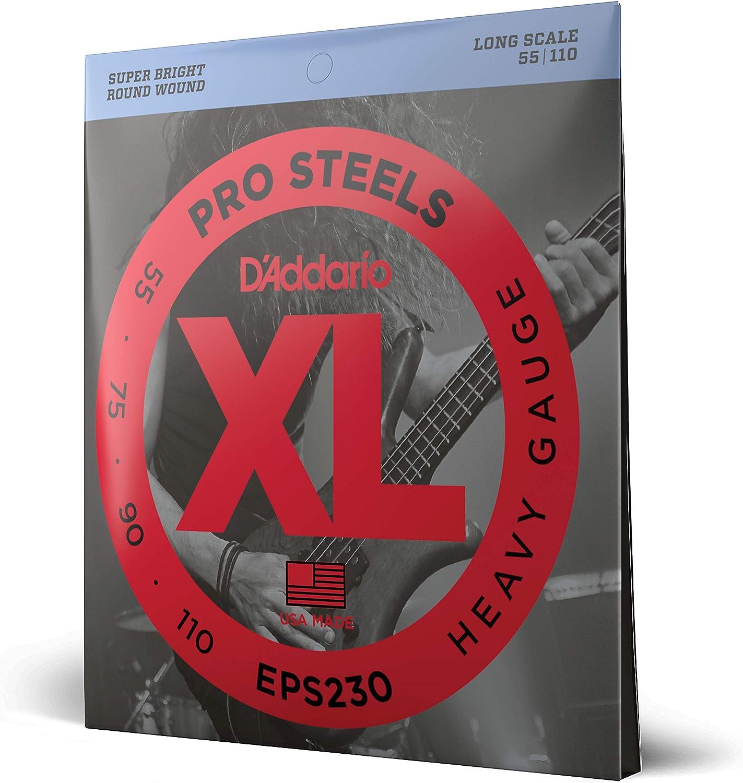 D'Addario EPS230 - Juego de cuerdas para bajo eléctrico de acero, 055' - 110'