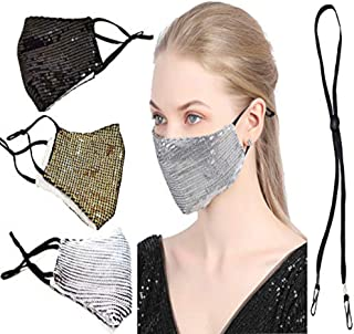Sequin Face Mask Reusable Glinting Bead Visor Cotton Cloth Breathes Fashion Party Face Mask for Girls