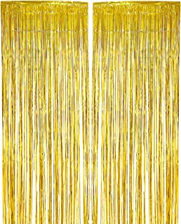 Blue Panda 2-Pack Gold Fringe Curtains - Wedding Photo Backdrop, Metallic Tinsel Foil Fringe Curtain, Party Decoration Photo Booth Background, Perfect New Years Parties - 7.9 x 3 Feet
