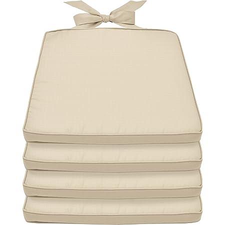 Beautissu Lot de 4 Galettes de Chaise Pia - Coussin Chaise Confortable - Idéal pour intérieur & extérieur 45x40x5cm déhoussable - Nature