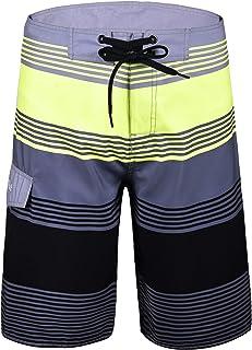 Nonwe Men's Board Shorts Summer Sea Vacation Swim Trunks Grey Stripes 40