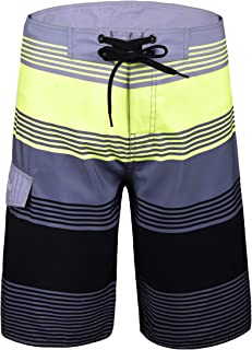 Men's Quick Dry Swim Trunks Colorful Stripe Beach Shorts with Mesh Lining