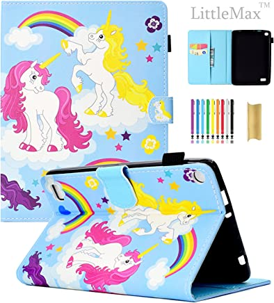 LittleMax Kindle Fire 7 Case,Ultra Slim PU Synthetic Leather Case Flip Stand [Magnetic Closure] Cover for Amazon Kindle Fire 7 5th Gen 2015 Version -#2 Pink Yellow Unicorn