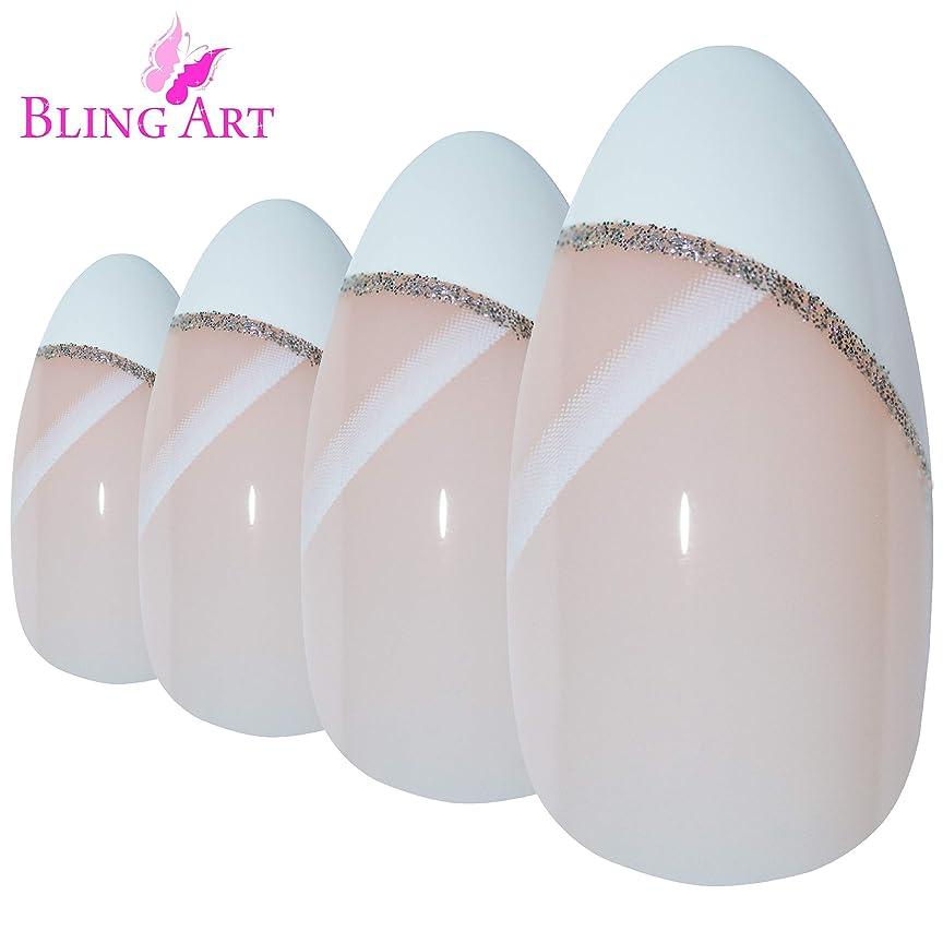 色失効雄弁Bling Art Almond False Nails Fake Stiletto White Glitter 24 Long Tips with Glue