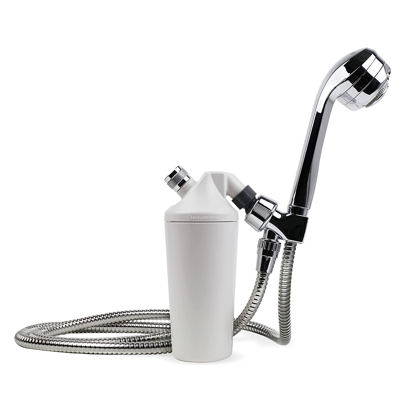 Aquasana Deluxe Shower Water Filter System with 5' Wand Premium Massaging Shower Head, Chrome