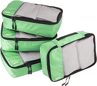 AmazonBasics 4 Piece Small Packing Travel Organizer Cubes Set - Green