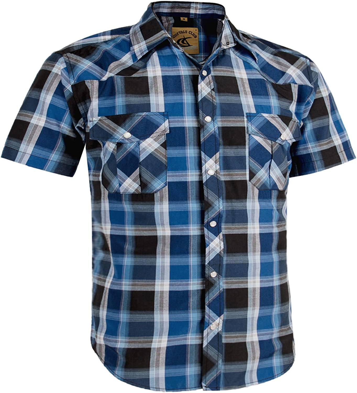 Coevals Club Men's Casual Plaid Pearl Button Snap Front Short Sleeve Shirt Regular Fit (Blue/Black #4, 2XL)