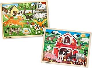 Melissa & Doug Animals Wooden Jigsaw Puzzle Sets - Pets and Farm (24 pcs each)