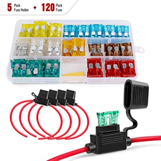 Nilight - 50030R 120 pcs Standard Blade Fuses 5A/7.5A/10A/15A/20A/25A/30A AMP Assorted Set with 5 Pack 12AWG ATC/ATO Inlin...
