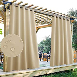 StangH Outdoor Thermal Curtains - Outdoor Waterproof Curtains for Back Deck / Lanai / Porch, Extra Wide Room Divider Curta...