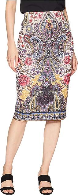 Printed Scuba Midi Skirt
