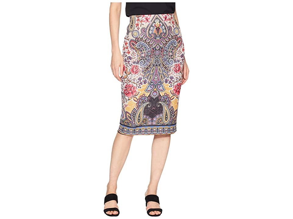 eci Printed Scuba Midi Skirt (Red/Black) Women