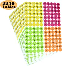 "Garage Sale Price Stickers Pack of 2240 3/4"" Round Bright Colors Label Stickers (with Price)"