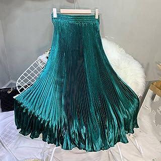 ZJMIYJ Kjolar för kvinnor - midja veckad sjöjungfru lång kjol elastisk hög midja satin maxikjolar kvinnor 11 färger sommar...