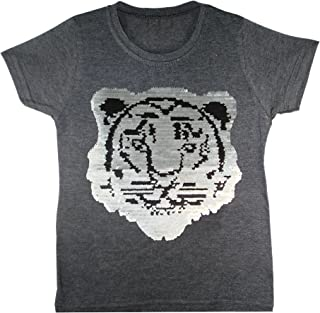 Boys Football Tiger T-Shirt Brush Changing Sequin Girls Short Sleeve Tee Top Age 3-14 Years