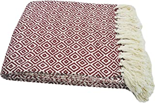 "Chardin Home-100% Cotton Diamond Pattern Blanket Throw with Fringe For Chair, Couch, Picnic, Camping, Beach, & Everyday Use , 50"" x 60"