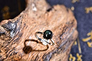lbb Natural Rainbow Eye Obsidian Adjustable Women's Ring Women's Crystal Ring high Polished Bare Beads 8mm Women's Jewelry Gift