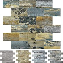 Art3d Peel and Stick Distressed Rustic Wood Panel 10pcs of 12x12inches, for Kitchen Backsplash, Bathroom Decoration, Fireplace and Stair Riser Decal, Made of PVC Composite Laminate