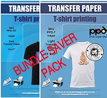 "PPD Inkjet Iron-On Bundle of T Shirt Transfer Paper 11x17"" of Light x10 Sheets + Dark x 10 Sheets"