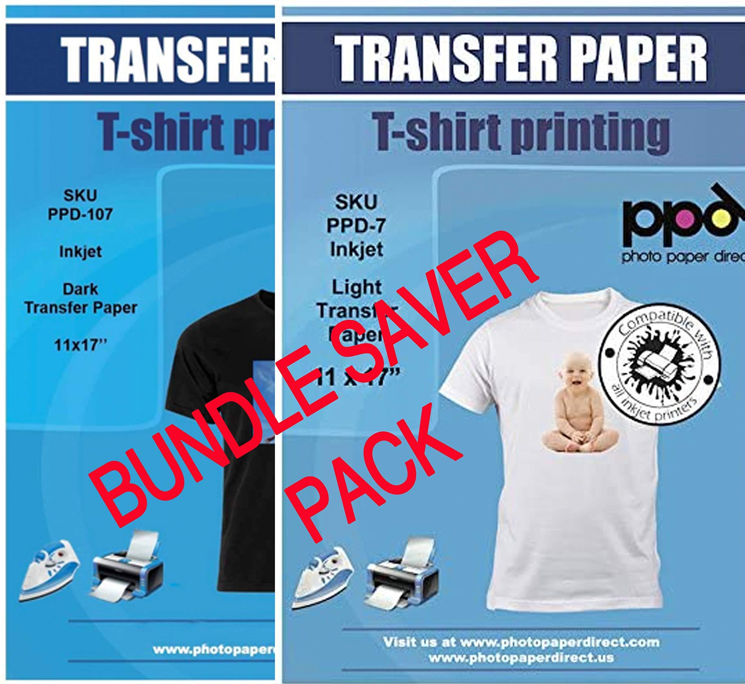 "PPD Inkjet Iron-On Bundle of T Shirt Transfer Paper 11x17"" of Light x10 Sheets + Dark x 10 Sheets"