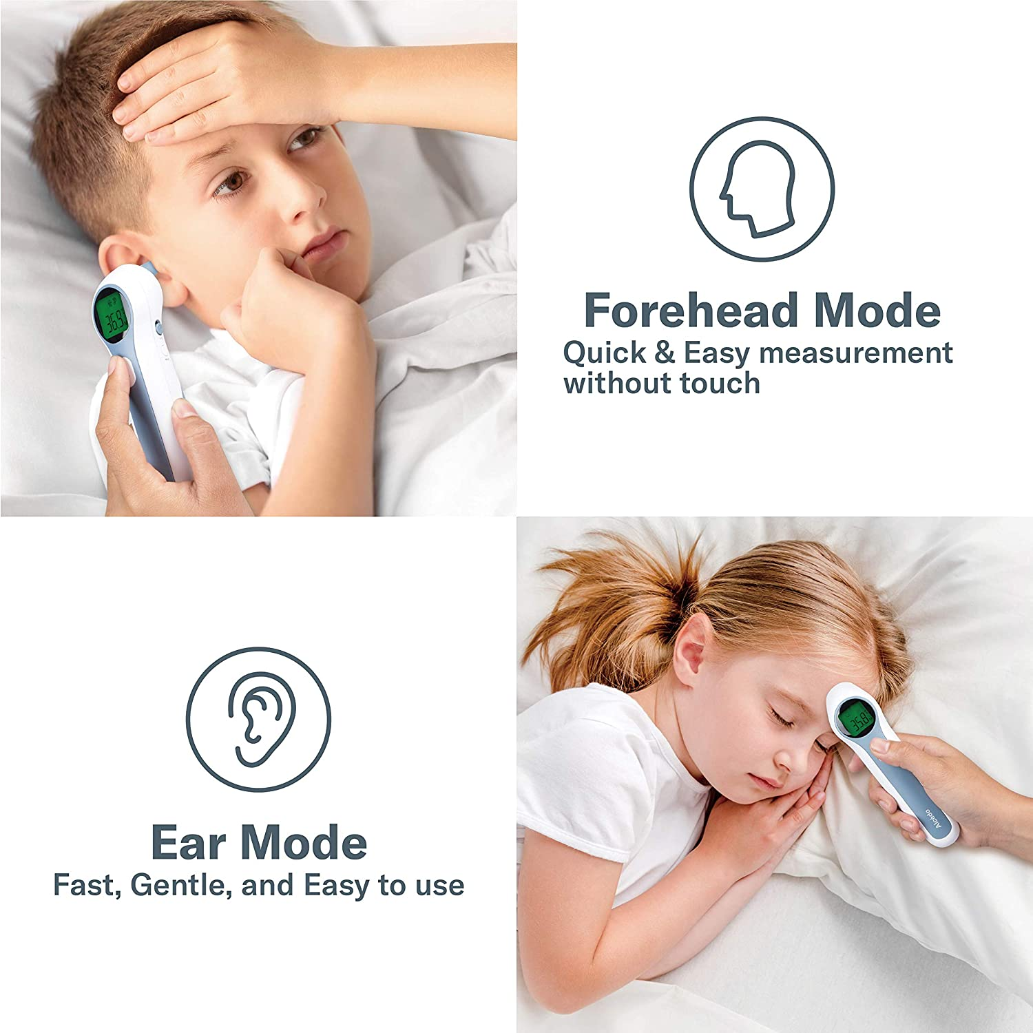 Alcedo Forehead and Ear Thermometer for Adults, Kids, and Baby   Digital Infrared Thermometer for Fever   Touchless, Instant Read, Medical Grade   Pouch and Batteries Included