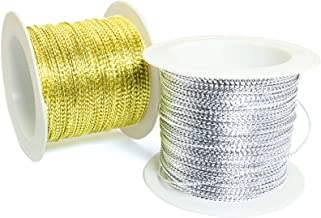 Lind Kitchen 2PCS Gold and Siver Tinsel Cord Rope Wire Tag Rope Metallic Cord Non-Stretch Ribbon for Jewelry Making Gift W...
