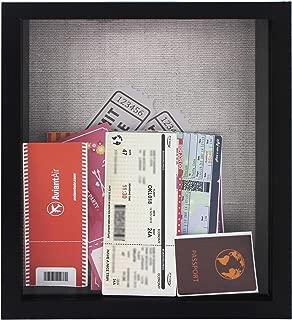 8x10 Black Ticket Shadow Box - Top Loading - Frame for Memorabilia - Raffle Ticket Stub Holder/Collector Decoration - Wall Display/Self-Standing - Linen Lined Back - Swivel Tab Back (8x10, Black)