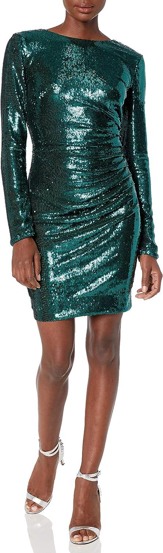 Dress the Population Women's Lolita Long Sleeve Stretch Sequin Drape Front Mini Dress