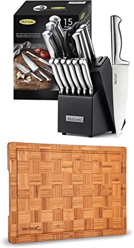 """lowest McCook MC21 high quality German outlet online sale Stainless Steel Knife Block Sets with Built-in Sharpener + MCW12 Bamboo Cutting Board(Small, 14""""x10""""x0.8"""") sale"""