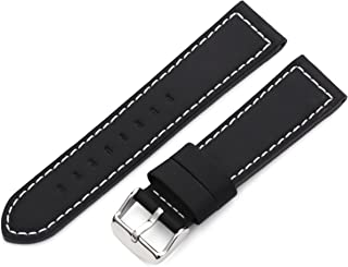 Hadley-Roma Men's MSM740RA 180 18-mm Black Silicone Layered Leather Watch Strap