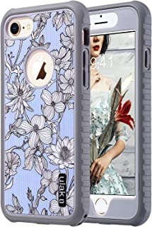 ULAK iPhone 8 Case, iPhone 7 Case, Slim FIT Shock-Absorbing Flexible Durability TPU Bumper Case, Durable Anti-Slip, Front and Back Hard PC Defensive Protective Cover, Pinstripes & Flowers