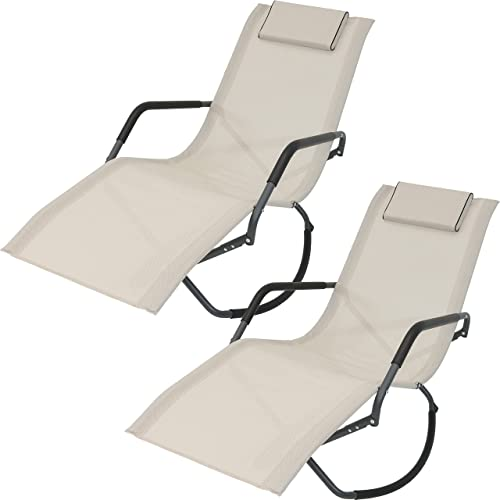 new arrival Sunnydaze Rocking Chaise Lounge Chair with Headrest wholesale Pillow, Outdoor Folding Patio Lounger, Beige, wholesale Set of 2 outlet sale
