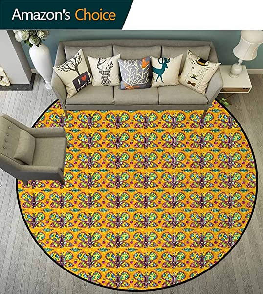 DESPKON HOME Butterfly Modern Machine Round Bath Mat Colorful Wings Leaves And Cherries On A Warm Colored Background Circles Dots Non Slip No Shedding Kitchen Soft Floor Mat Round 31 Inch Multicolor