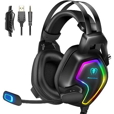 Cuffie Gaming per PS4 PC PS5 Xbox One Stereo Audio Surround 3D Bass Cuffie con Microfono Cancellazione del Rumore, Controllo del Volume Luce RGB 3.5mm per Mac