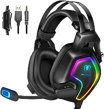 Gaming Headset für PS4 PS5 PC Xbox One mit RGB Licht Mikrofon Geräuschunterdrückung..