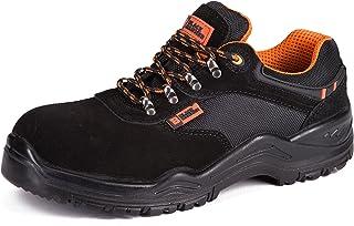 Calzado Deportivo de Seguridad S1P SRC con Puntera Ultraligera de conglomerado Zapatos de Trabajo al Tobillo de Senderismo con Suelas centrales de Kevlar 1557 Black Hammer
