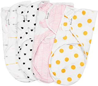 Swaddle Blanket, Adjustable Infant Baby Swaddling Wrap Set of 4, Baby Swaddling Wrap Receiving Blankets for Boys and Girls Made in Soft Cotton