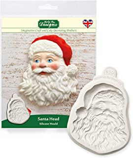 Katy Sue Santa Head Silicone Mold for Christmas Cake Decorating, Crafts, Cupcakes, Sugarcraft, Cookies, Candies, Cards and Clay, Food Safe Approved, Made in The UK