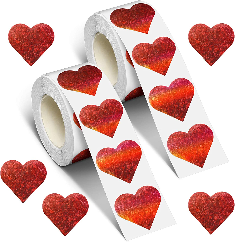 Zonon 1000 Today's Spasm price only Pieces Glitter Heart Stickers Love Valentine's Decora