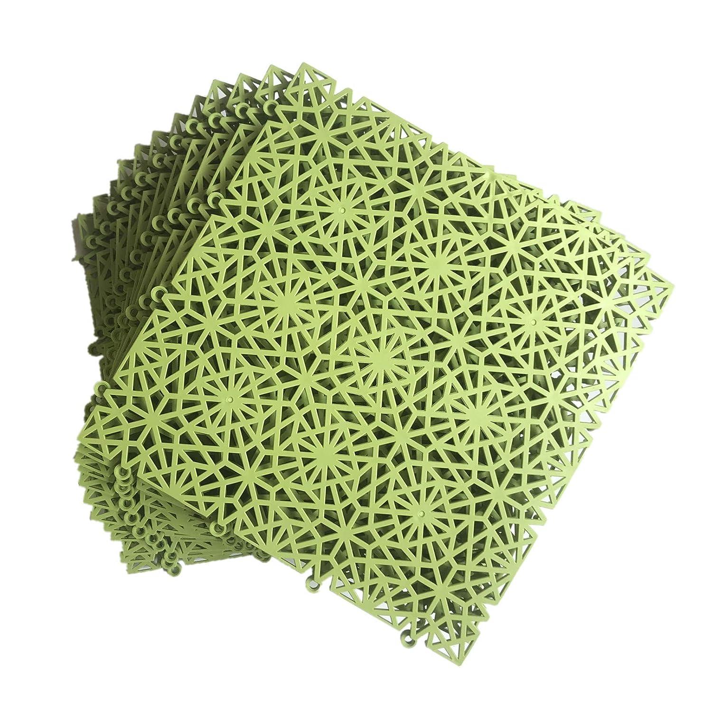 smabee Branded goods Ranking TOP16 12 Pack Interlocking PVC Drainage Non-Slip 11.75 Tile Mat