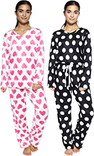 4-Piece Women's Pajamas Set Fleece Printed V-Neck Long Sleeve Top and Bottom Pajama Pants