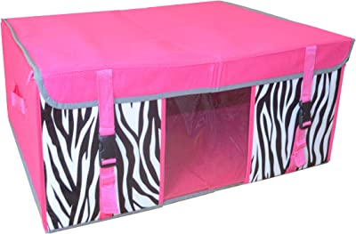 GinsonWare Collapsible Jumbo Storage Chest. Pink W/zebra Pattern. Item # 29-