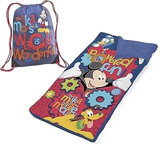 Disney Mickey Mouse Drawstring Carry Bag with Nap Mat Slumber Set, Blue