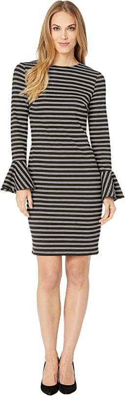 Striped Bell Cuff Ponte Dress