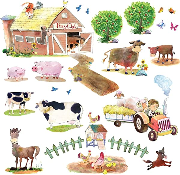 DECOWALL DW 1407 Pony Club And Farm Animals Kids Wall Decals Wall Stickers Peel And Stick Removable Wall Stickers For Kids Nursery Bedroom Living Room