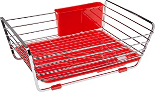 Pearl Life HB-301 Draining Steel Basket Dish Drainer, Red