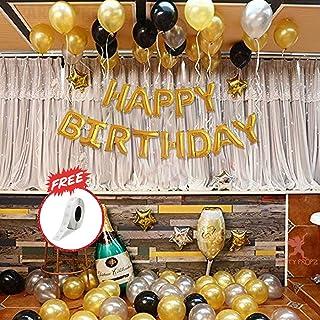 "Party Propz 62 Pcs Birtdhay Combo of 60 Pcs Black, Gold, Silver HD metallic balloons with 1 pcs 16"" ""HAPPY BIRTHDAY"" Golde..."
