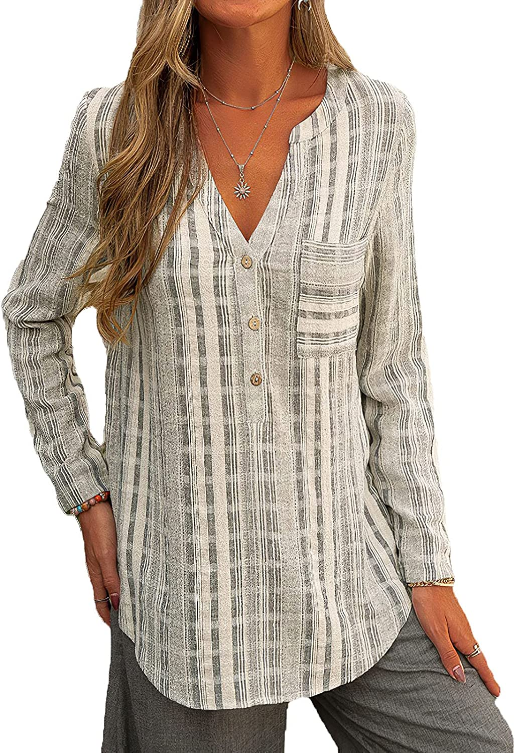 Women's Striped Button Down Shirts Casual Loose Long Sleeve V Neck Pockets Shirts for Women Tops
