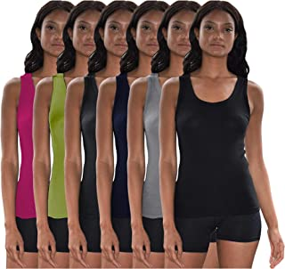 Sexy Basics Racer Back Tank Tops for Women / 6 Pack Cotton Ribbed -Flex Tank Tops