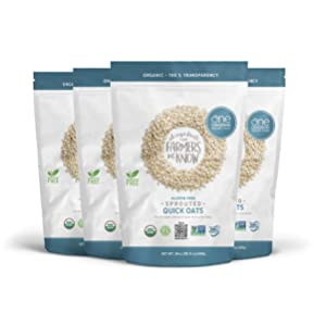 One Degree Organic Foods Sprouted Quick Oats, USDA Organic, Non-GMO Gluten Free Oatmeal, 24 oz., 4 Pack